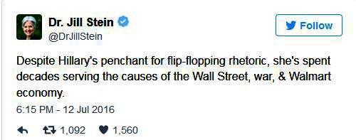 HRC tweet by Jill Stein